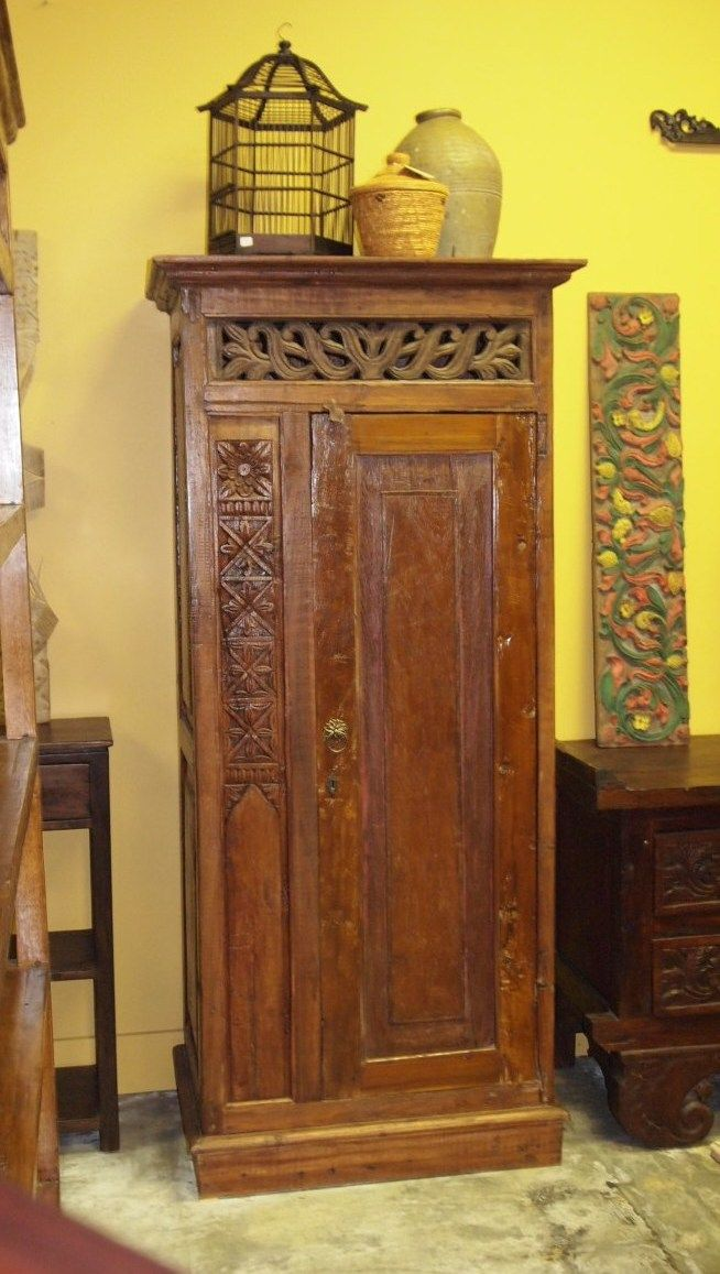 Rustic Carved Cabinet From Indonesia