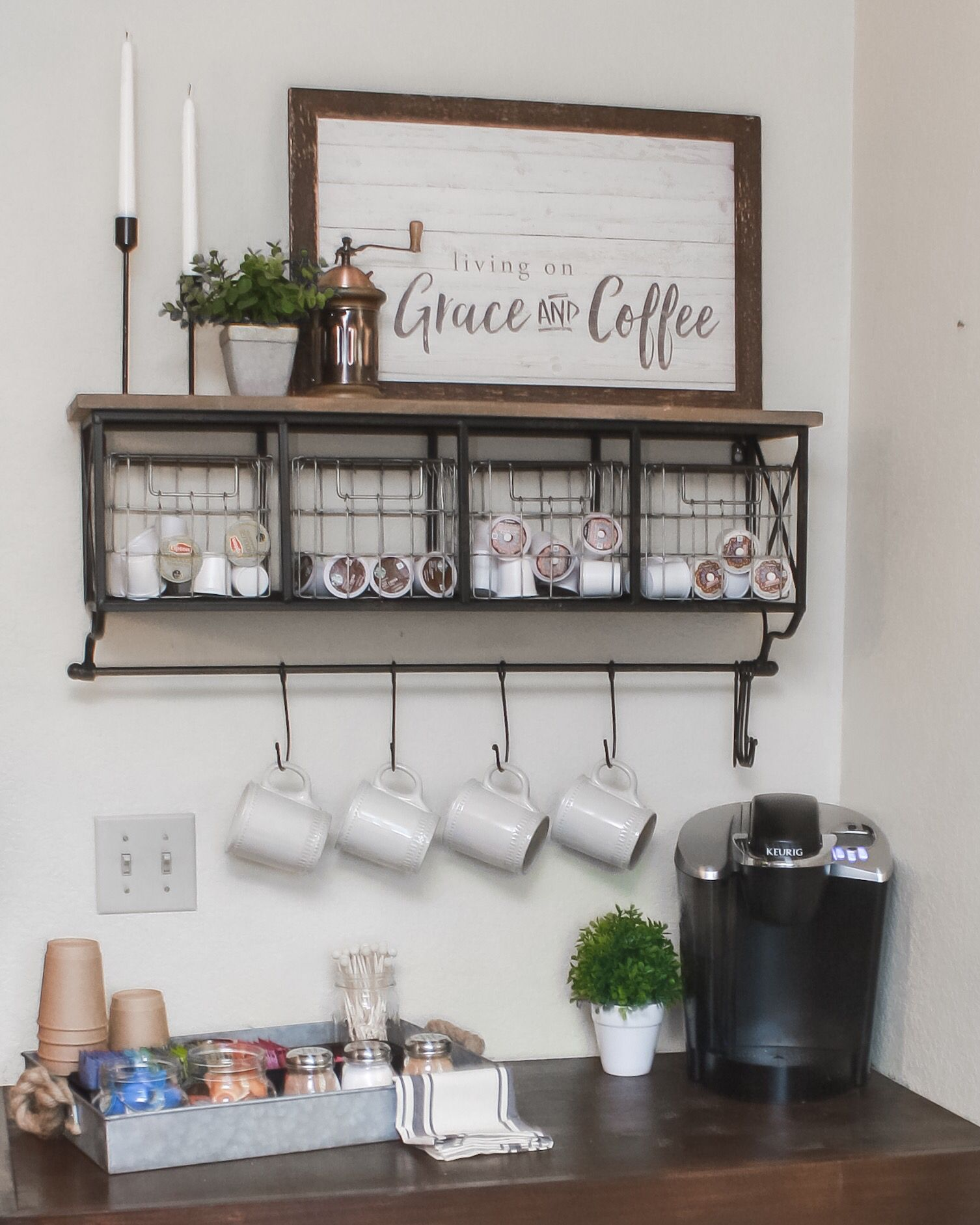 Most Decor Is From Hobby Lobby Coffee Bar Home Bar Shelves Coffee Bar Station