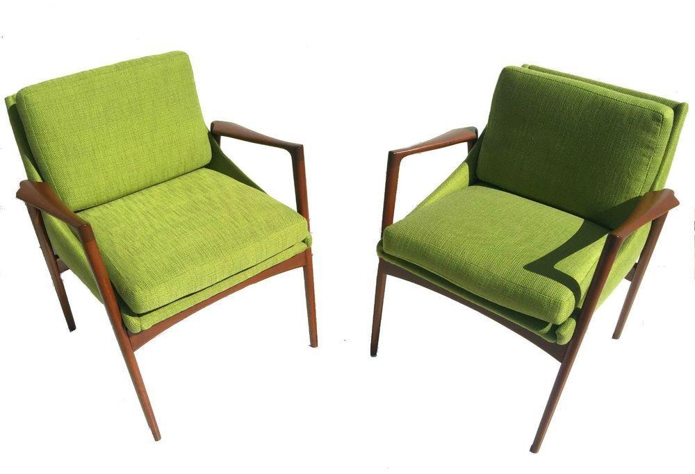 mid century danish modern pair chairs kofod larsen denmark selig restored retro #kofodlarsen