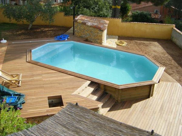 Votre Piscine SemiEnterre   Ides Cratives  Decking Swimming
