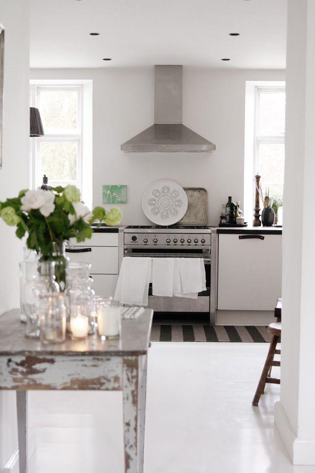 A Beautiful Minimal White Kitchen With White Floors Stainless Range Swedish And Scandinavian Style By Home Kitchens White Kitchen Design Kitchen Inspirations