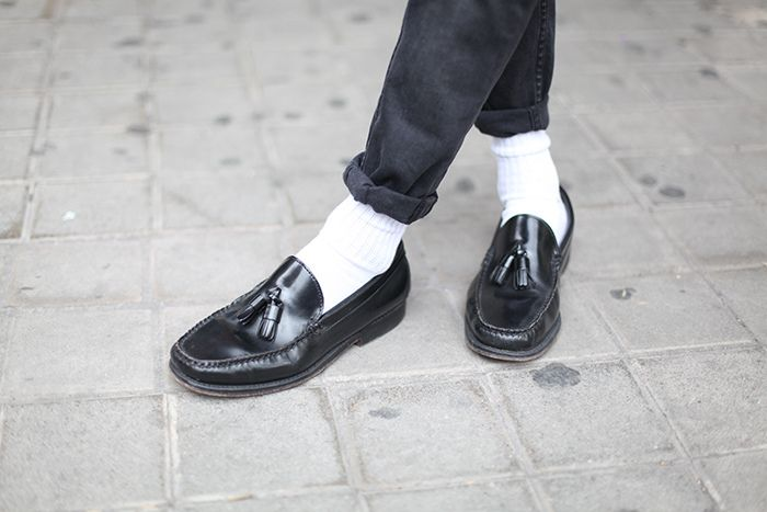 white socks and loafers