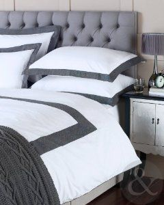 Exceptional 100% COTTON HERRINGBONE DUVET COVER 200 Thread Count Grey White Bedding Bed  Set White U0026 Pictures