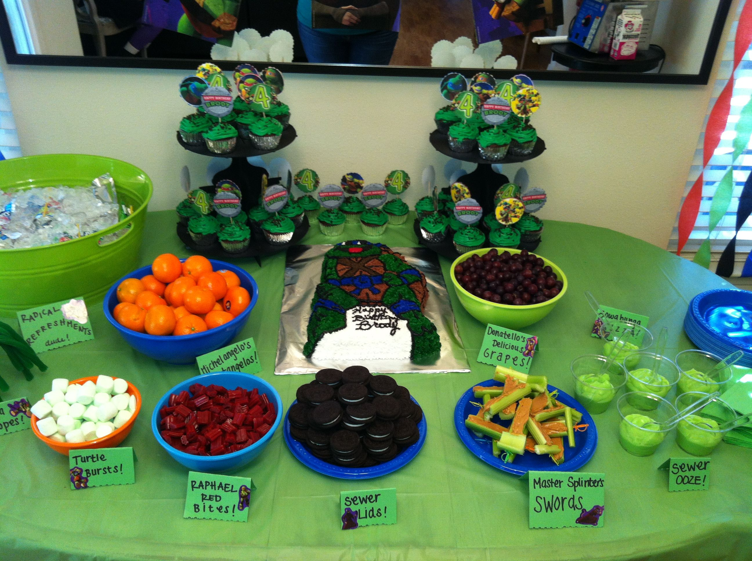Ninja Turtle Party Kids Table I Like The Idea Of Doing