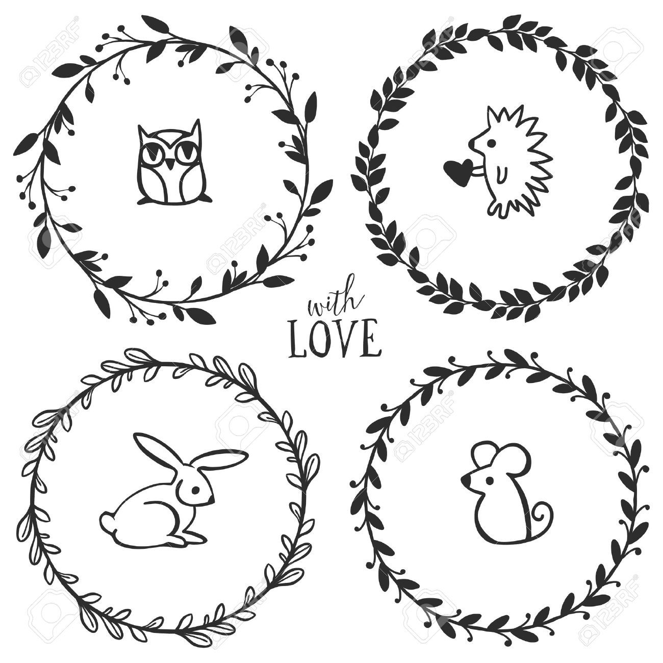 hand drawn rustic vintage wreaths with lettering and cute little