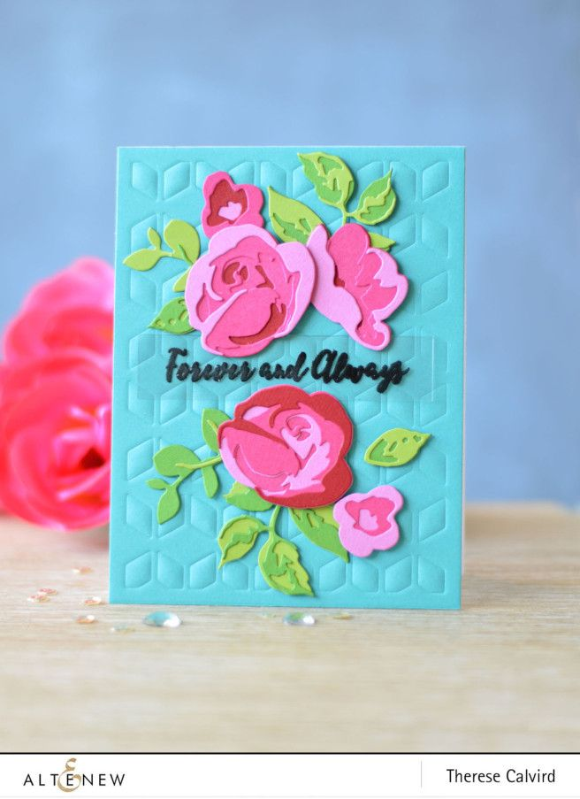 Video  Hot Pink Rose Flurries 3D Die u2013 Altenew! 3d, Rose and Cards - copy what is blueprint paper called
