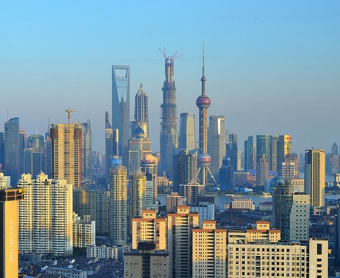 Shanghai Tower and Shanghai World Financial Center in April 2013