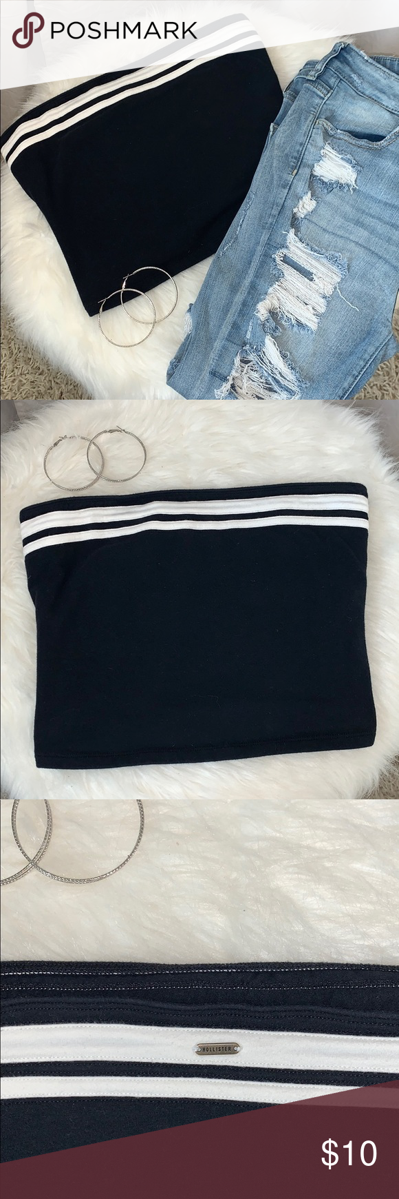Hollister Striped Tube Top Navy blue and white Thick material I love offers and bundles! Hollister Tops #tubetopoutfits