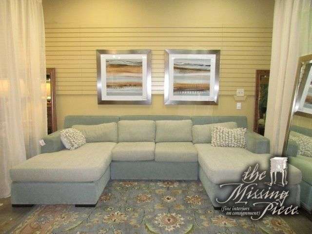 Transitional Style Three Piece Sectional In A Two Tone Green Upholstery  With Double Chaise Ends.