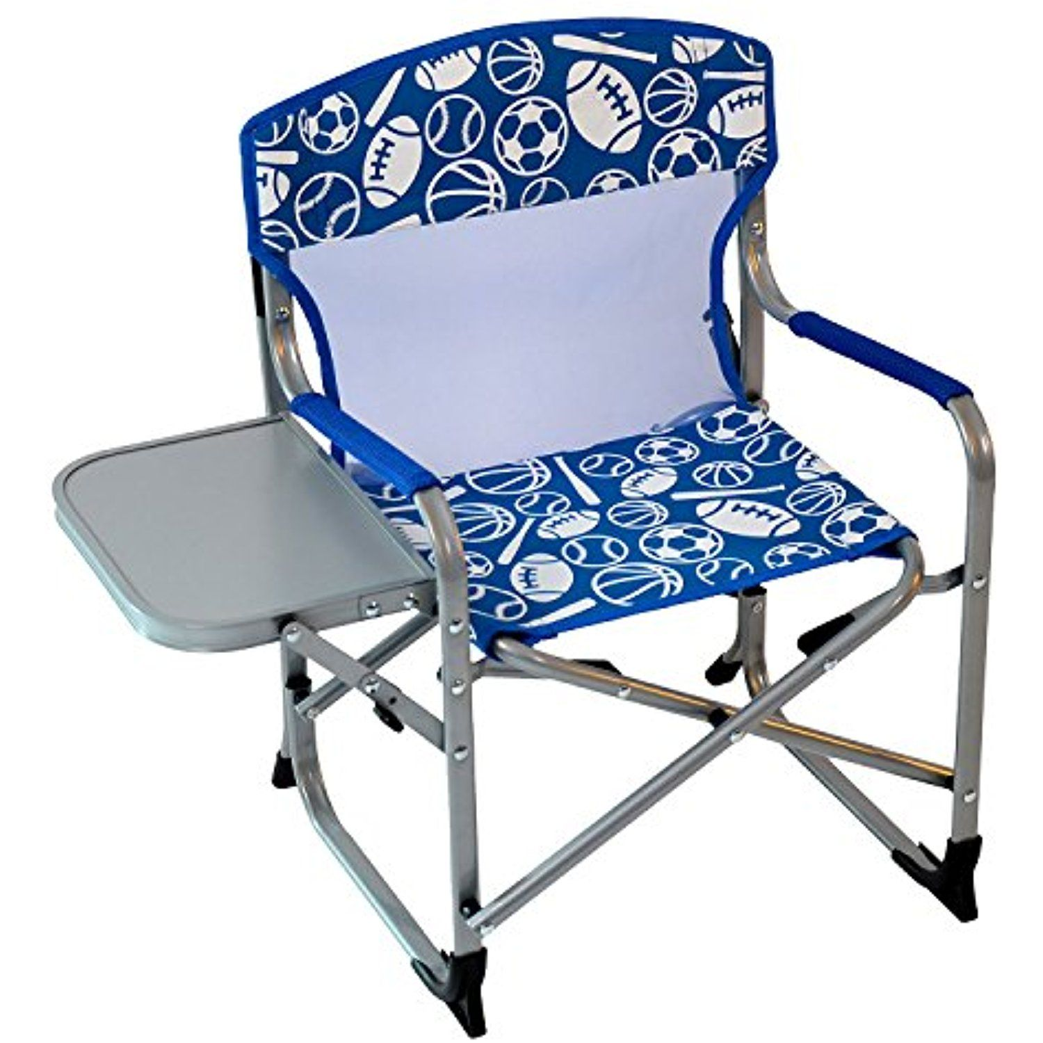 Kids portable directors chair blue sports check this