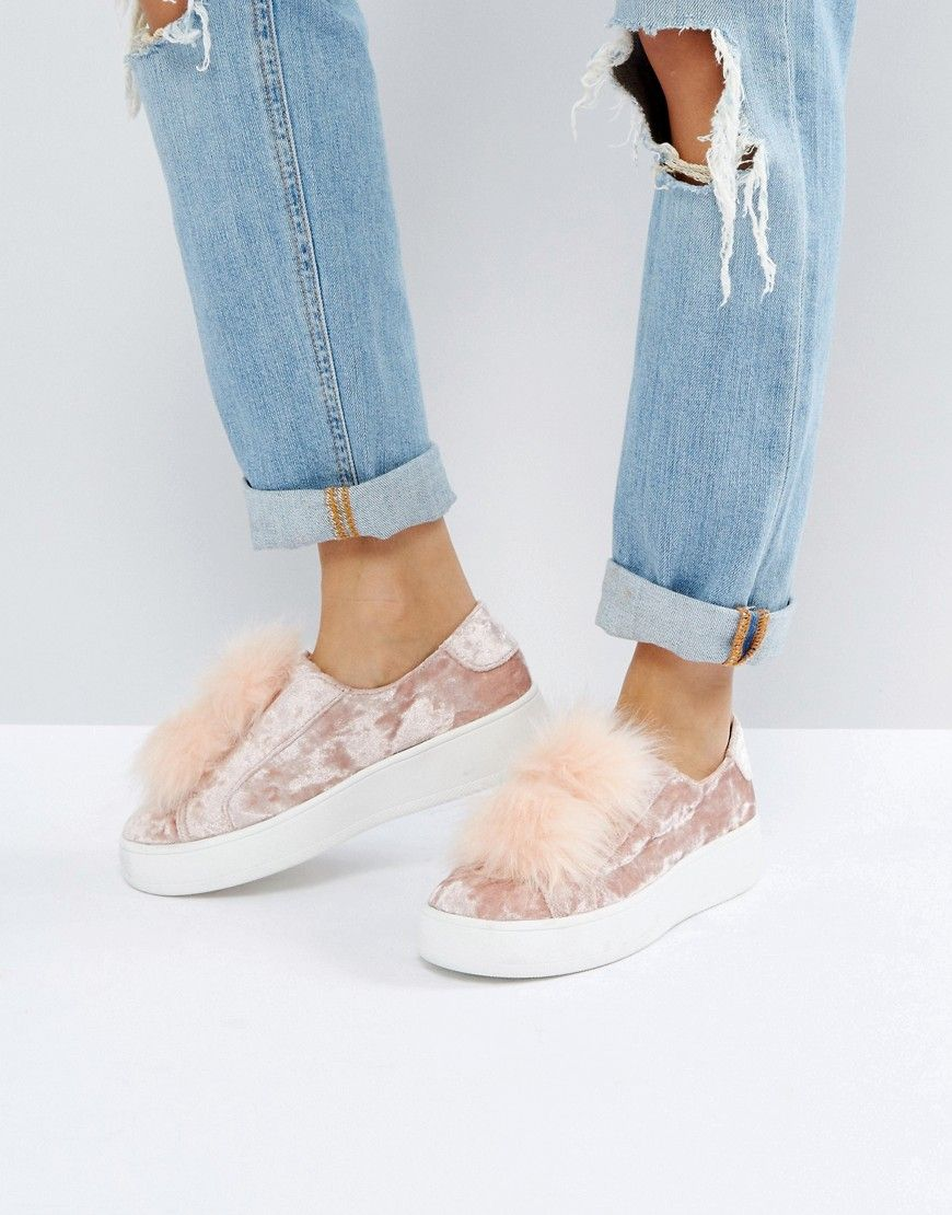 c8cca60f6e5 Steve Madden Breeze Velvet Sneakers With Pom - Pink