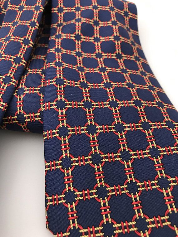 bccf3a9982b9 Vintage Hermes Silk Necktie 668 OA, 100% Silk Twill Print Soie, Navy Blue  Yellow Gold Red, Made In F