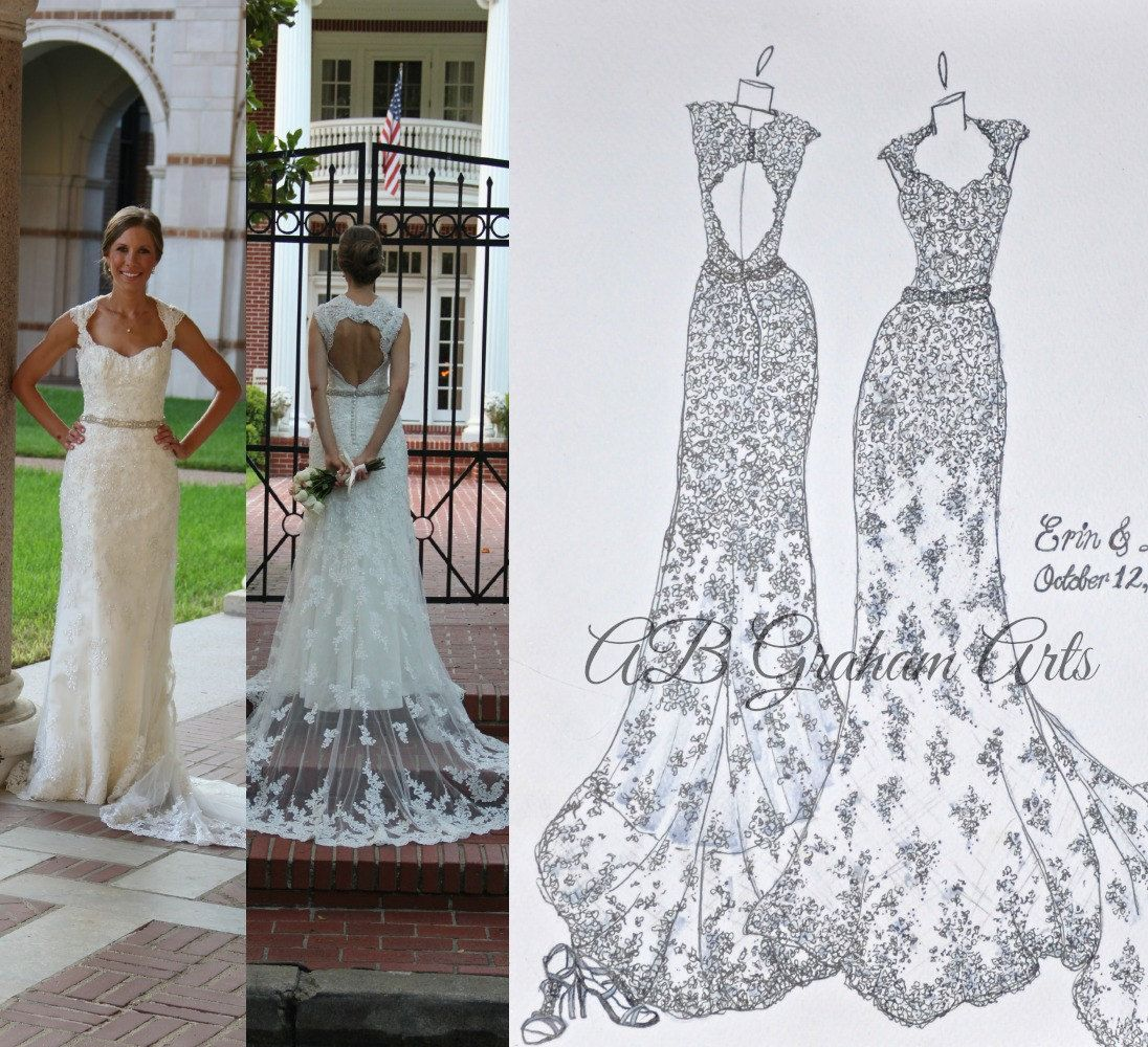 Front u back personalized wedding dress sketch by abgraham on etsy