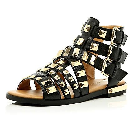 Black studded Gladiator sandals as seen in LOOK #riverisland