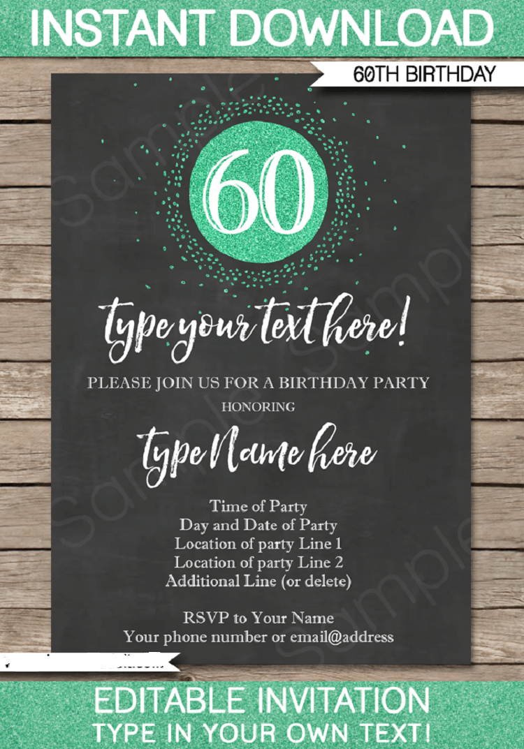 Green Birthday Invitation Card 60th