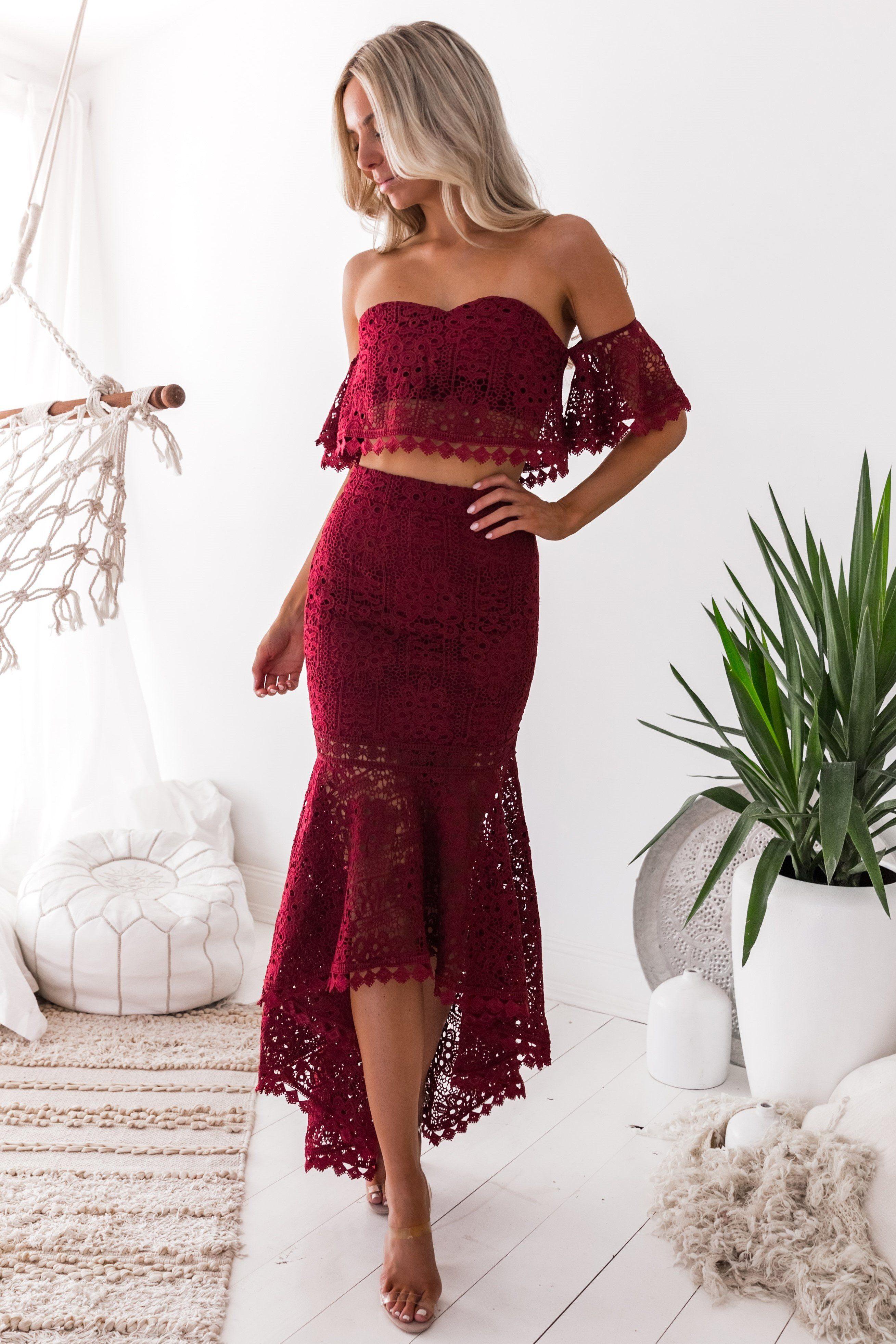 Celine Set Burgundy Burgundy Prom Dress Prom Dresses Two Piece Lace Party Dresses [ 3927 x 2618 Pixel ]
