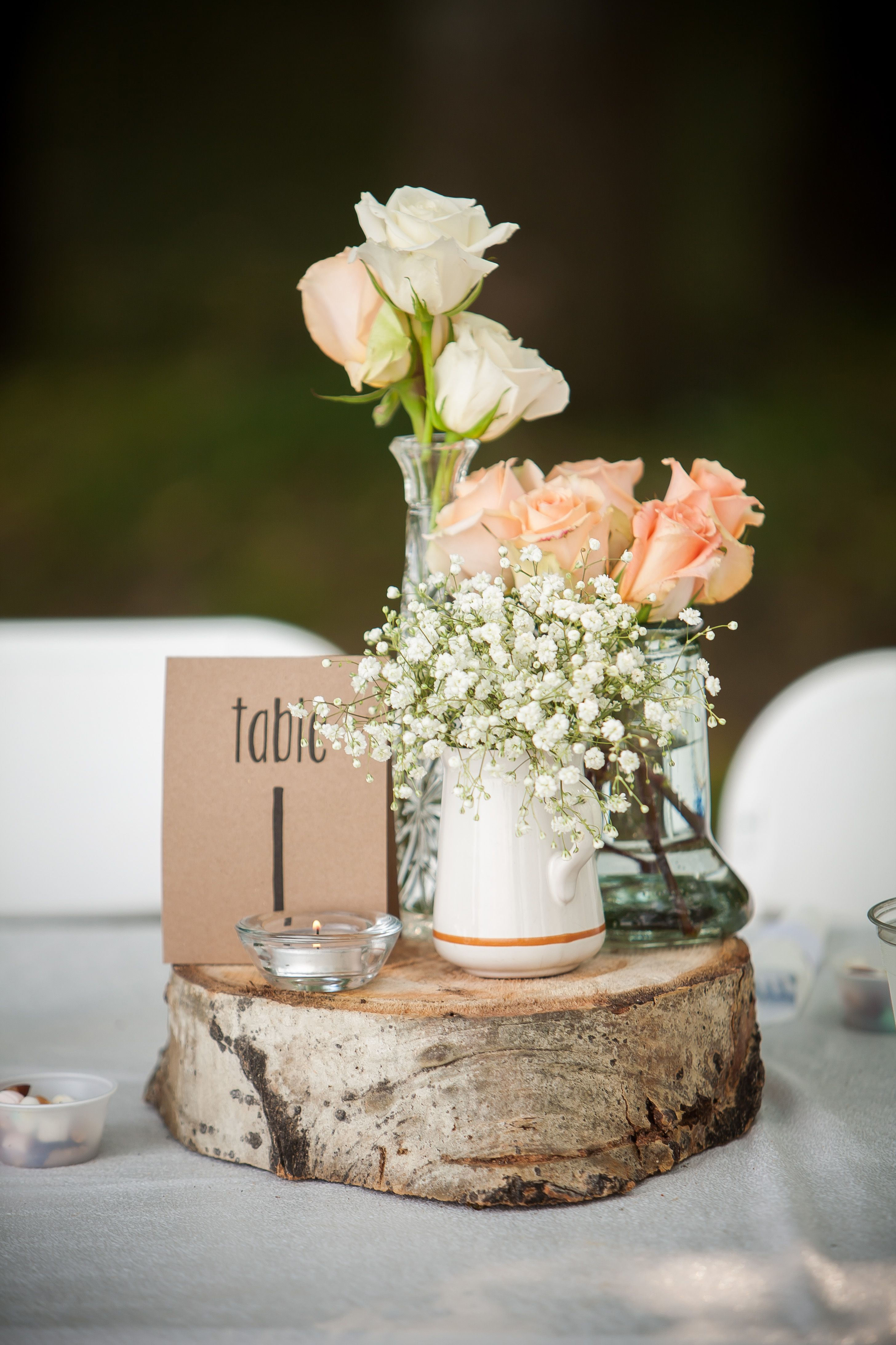 Flower And Table Number On Wood Slab Wood Slab Wood Centerpieces Wood Slab Centerpiece