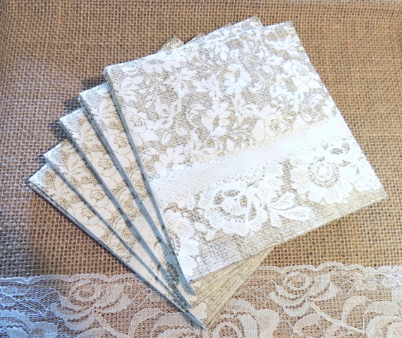 Burlap and Lace Paper Dessert Paper Plates by OurVintageBliss & Burlap and Lace Paper Dessert Paper Plates Farmhouse Wedding ...