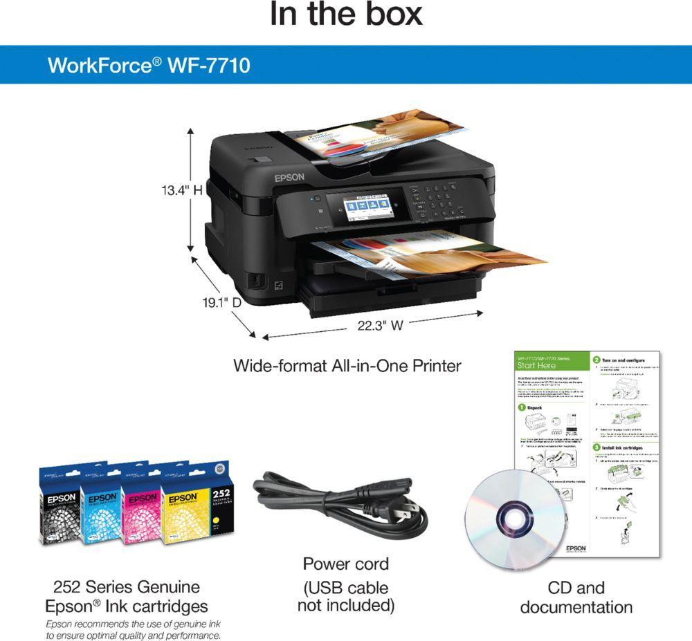 Epson Workforce Wf 7710 Wireless All In One Inkjet Printer Black Wf 7710 Best Buy In 2021 Epson Inkjet Printer Best Printer Scanner Printer