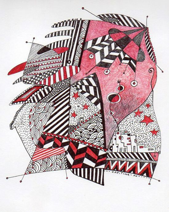 Pen on paper, drawings by Liliana Capitina