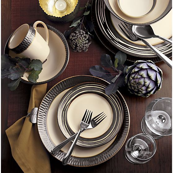 Shop Scavo Dinnerware Set With Swirl Salad Plate. Earthy Stoneware Mingles  Cream And Warm Metallics With A Rustic Textured Rim That Looks Like Handcut  Wood.