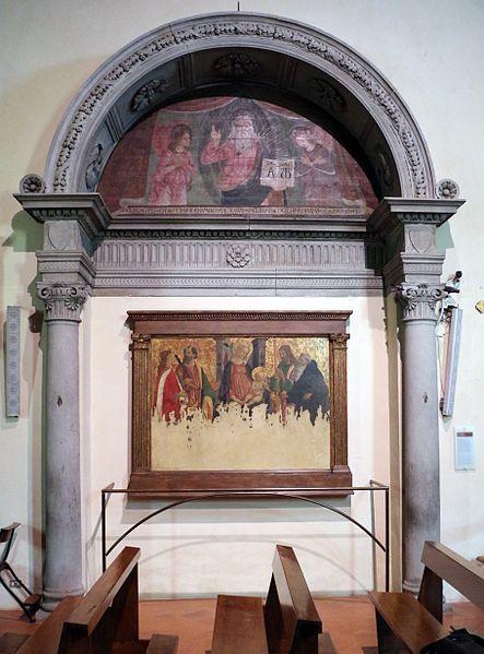 Francesco Botticini - Pala Donnino: Dio benedicente e Madonna in trono fra santi - 1480 ca.- Chiesa di Sant'Andrea a San Donnino (Campi Bisenzio) - Reca i segni dell'alluvione del 1966
