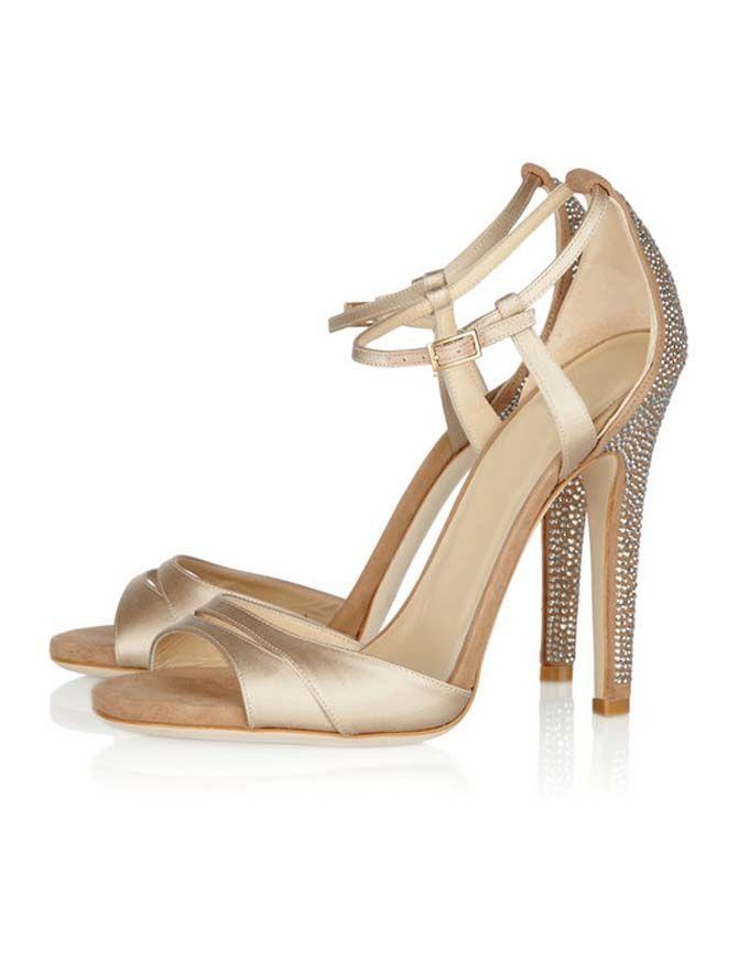 Heel Height Gold Satin Shiny Heel Sandals   Women's Clothing ...