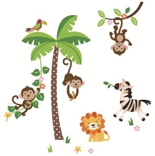 Dschungel Tiere Wandsticker / Aufkleber, bunt - Kinderzimmer Sticker ...