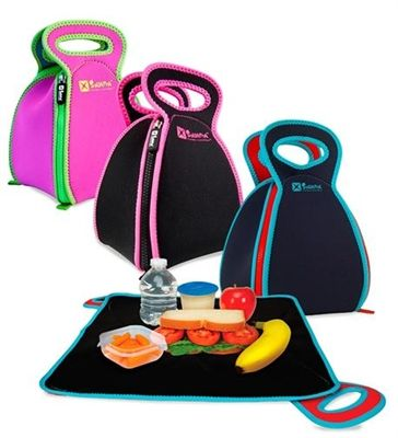 Solvetta FlatBox-Lunchbox - With innovative, kid-friendly and award-winning design, simply unzip this neoprene lunch bag and lay it flat to turn it into a placemat, creating a safe, clean surface for you or your little one to eat on.