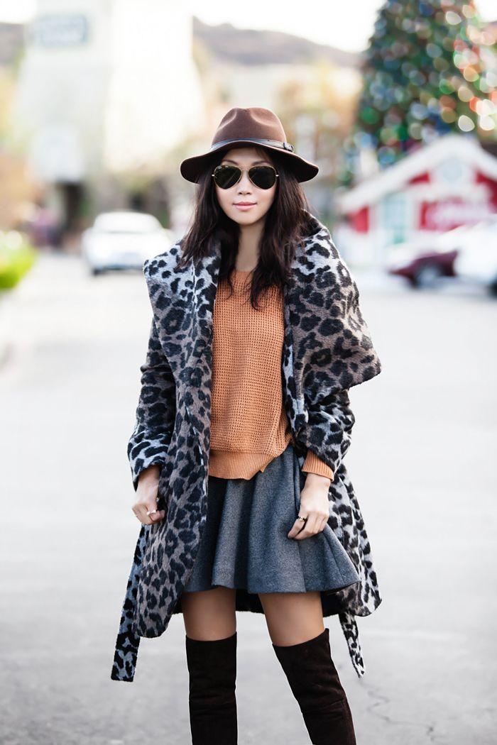 40fbac6eda59 Lookbook Store collaboration, Raglan Knitted Sweater, T Tahari Leopard  Print Wool Blend Wrap Coat