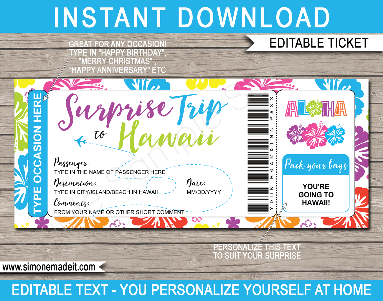 Surprise Trip To Hawaii Boarding Pass Template Printable Hawaii Trip Reveal Hawaii Travel Boarding Pass Template Tickets To Hawaii