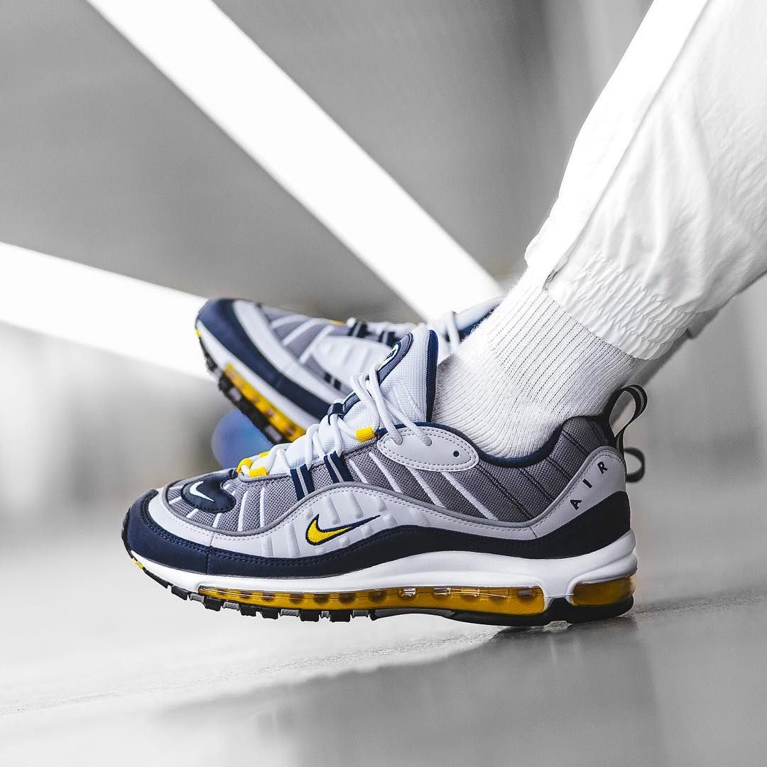 Nike Air Max 98 Yellow Navy | Sneakers | Fashion, Sneakers