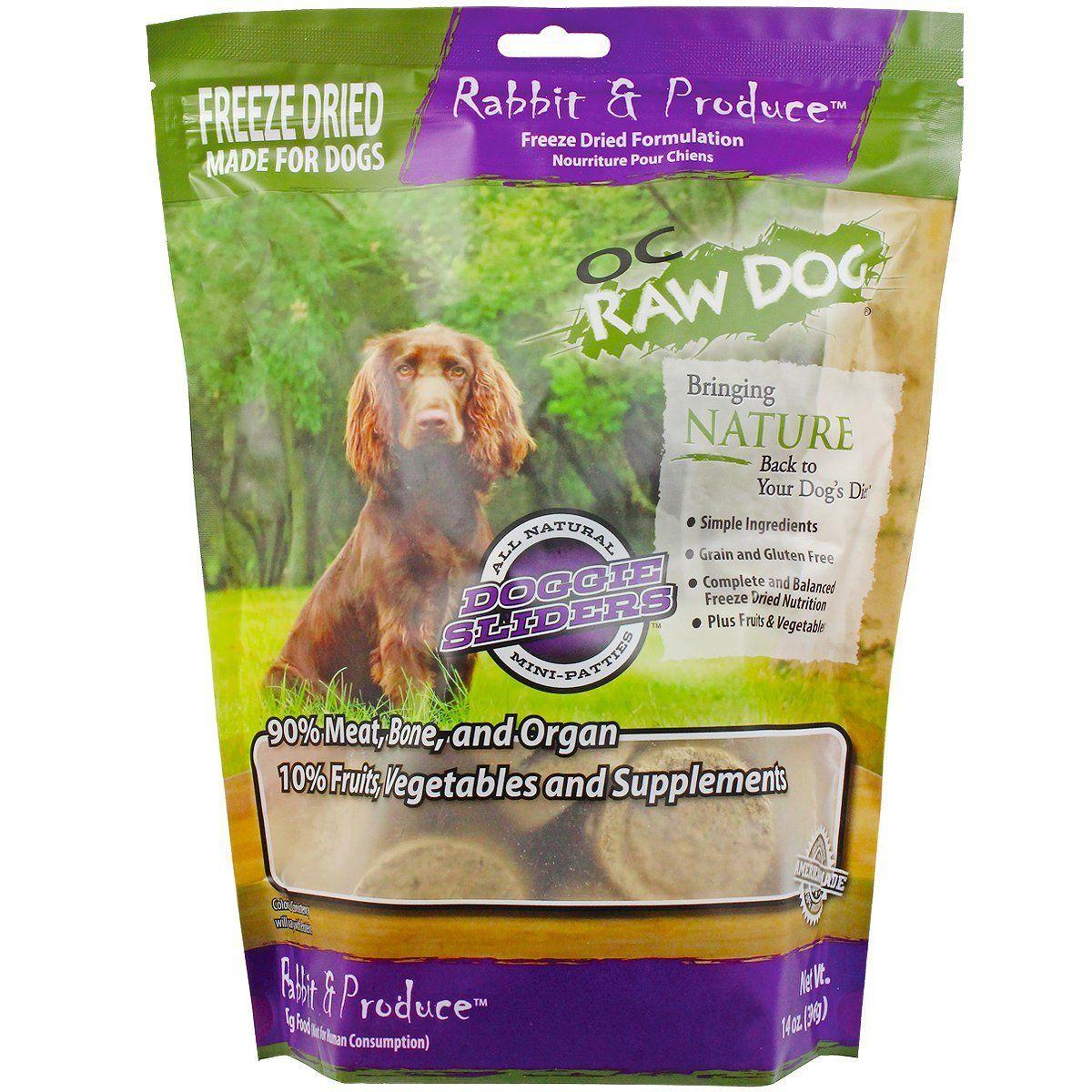 Oc Raw Freeze Dried Rabbit Produce Sliders 14oz Dog Food