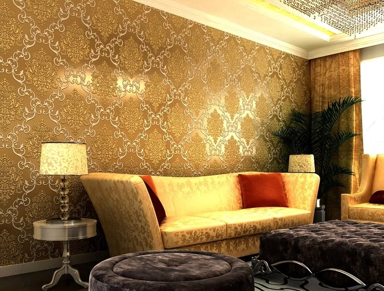 10022golden.jpg | Wallpaper living room, Gold wallpaper ...