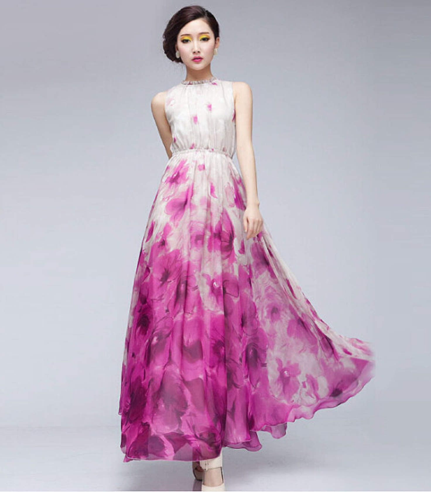 668791ba8e8d 15% Off Pink White Floral Print A-line Dress Bohemian Full Pleated Skirt  Wedding Bridesmaid Holiday Day Party Prom Ball Gown Event Sale