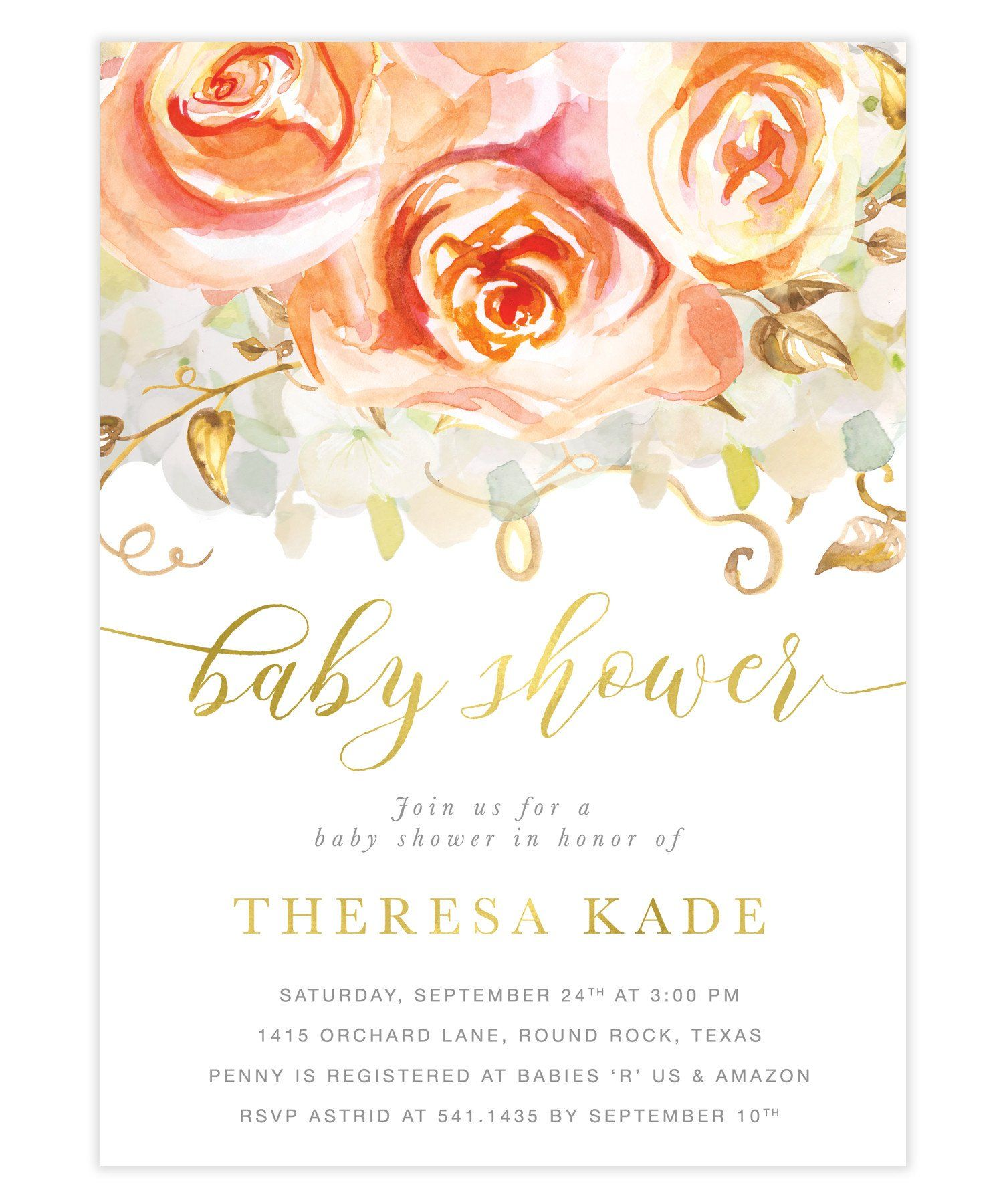 Fall Peach Roses Hydrangeas Baby Shower Invitation