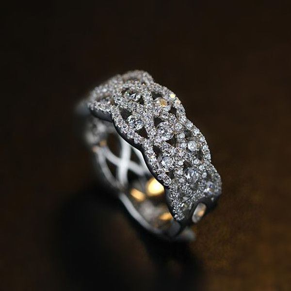 Fabulous Breathtaking Bling Bling Vintage Art Deco Cubic Zirconia and Silver Wide Wedding Band