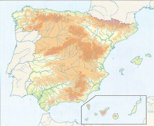 Mapa Mudo De España Fisico.Mapa Mudo Espana Fisica Mapas Map Of Spain Social