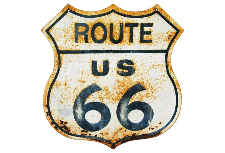 Route US 66 Metal Road Sign