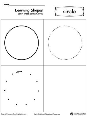 Learning Shapes Color Trace Connect And Draw A Circle Learning Shapes Shapes Preschool Teaching Shapes Circle shape worksheets for preschool