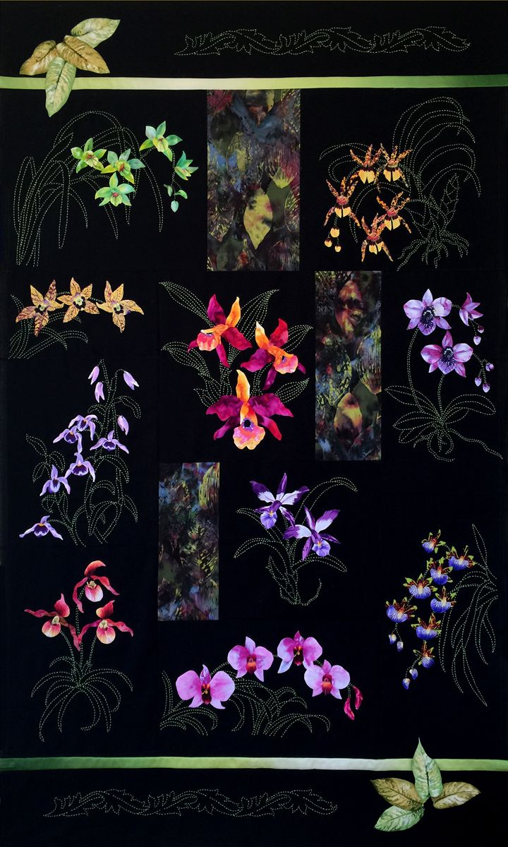 Orchids of Hawaii BOM Quilt by Sylvia Pippen | quilted art ...