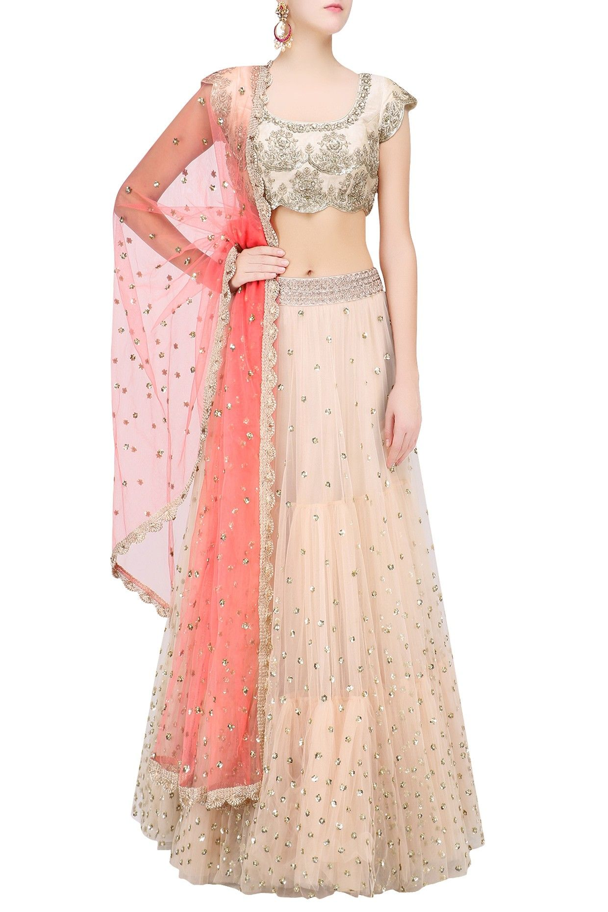 e9583df8d7 Off white floral sequins embroidered lehenga set with peach dupatta  available only at Pernia's Pop Up Shop.