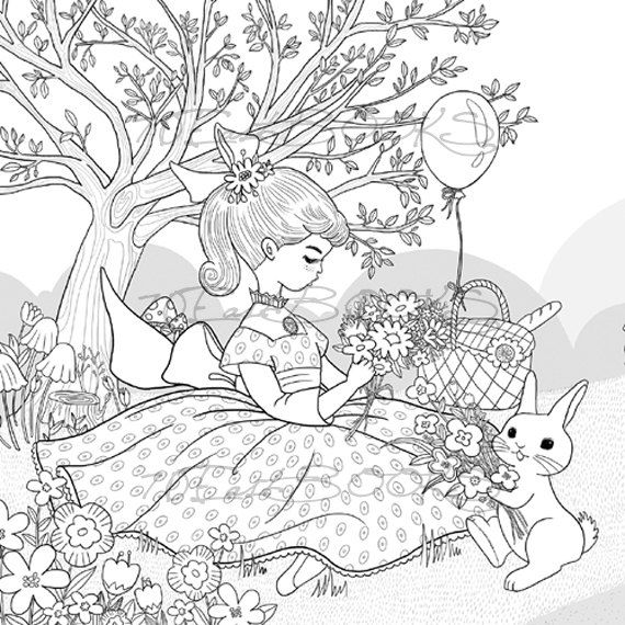 Bunny girl Coloring Book for Adult Girls Happy by ...