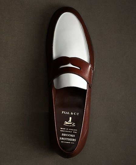 fbb0cf1b03 The Great Gatsby Collection White and Brown Spectator Loafer - Brooks  Brothers