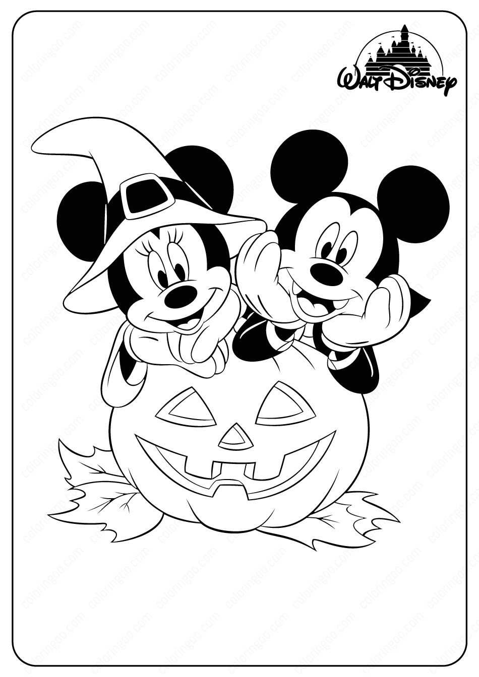 Minnie Mickey Halloween Coloring Pages In 2020 Halloween Coloring Book Halloween Coloring Pages Halloween Coloring Sheets