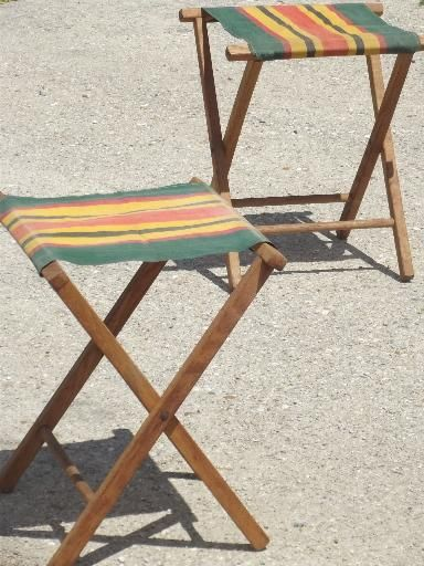 Terrific Vintage Folding Wood Camp Stools Striped Canvas Camping Bralicious Painted Fabric Chair Ideas Braliciousco
