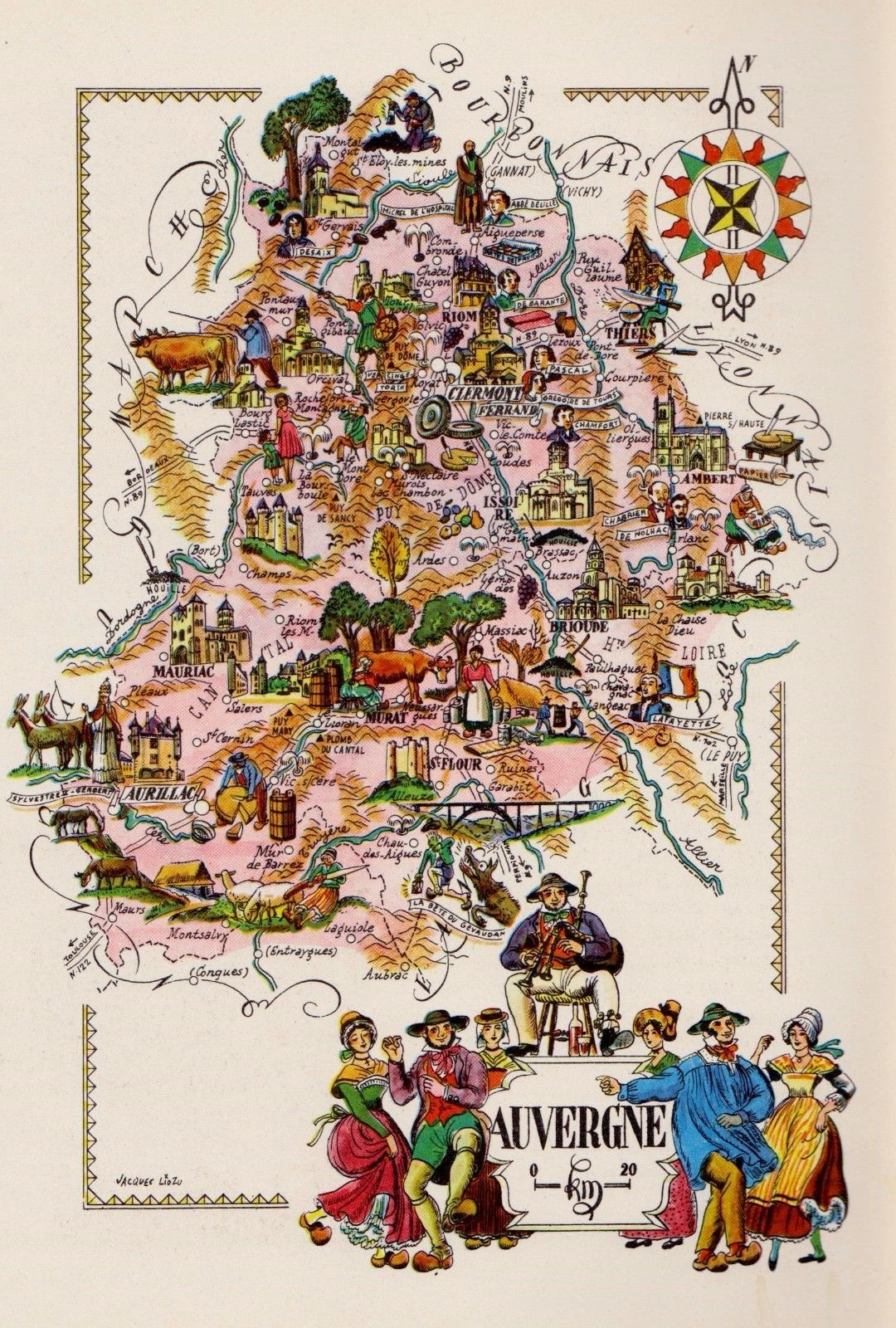 Map Of France Cartoon.Vintage France Cartoon Picture Map Auvergne Region Pictorial Map Fra