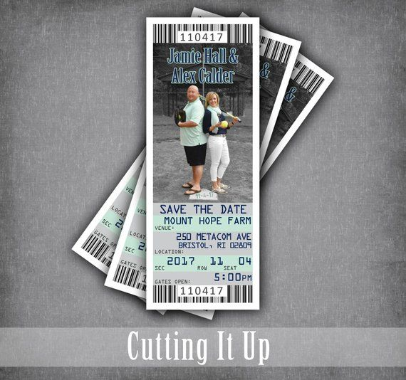 softball wedding save the date ticket magnets sports theme tickets