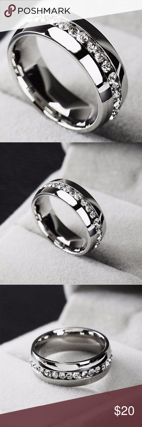 Men's Stainless Steel Size 9 Engagement Ring NWT Mens