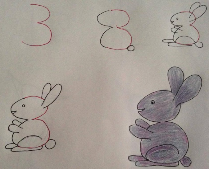 dibujo, de 3 a un conejo
